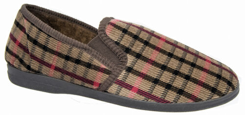 Mens Slip On Slippers / Brown Check Velour Sleepers Sizes 6 to 12