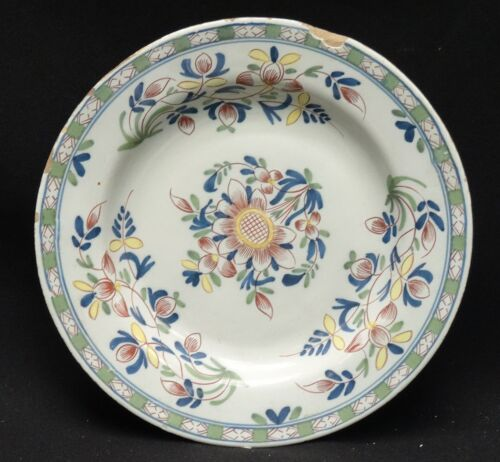 ANTIQUE MID 18 c. ENGLISH DELFT POLYCHROME  PAINTED PLATE