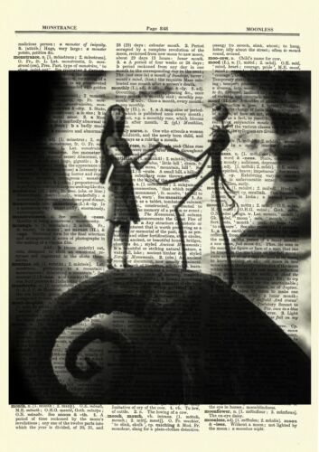 Jack Skellington Sally Dictionary Art Print Poster Nightmare before Christmas
