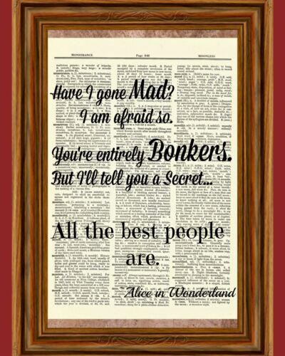 Alice in Wonderland Dictionary Art Print Book Picture Tale Poster Cheshire