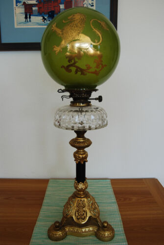 GWTW ANTIQUE GONE WITH THE WIND OIL KEROSENE BANQUET PIANO PARLOR OLD LION LAMP
