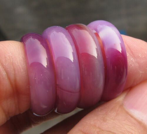 wholesale 4 pcs Chinese  natural purple onyx jade machining carved  ring size7-8