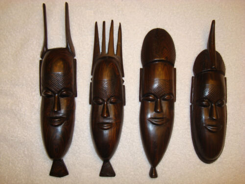 4 Mahogany Face Carvings Wall Hangings Vintage, Woodwork, Art