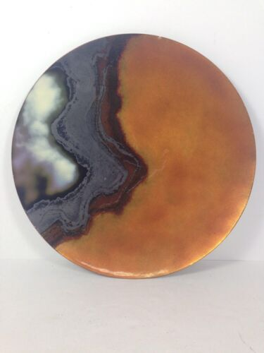 Vintage Peg Miller Enamel on Copper Dish Plate Mid Century Modern Abstract - 10""
