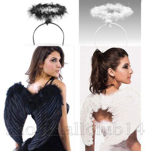Halloween Feather Angel Wings with Halo For Adult Women Men Costume Black/White