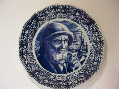 Antique wall plate sailor Boch freres, La Louviere, Belgium 35cm --free shipping