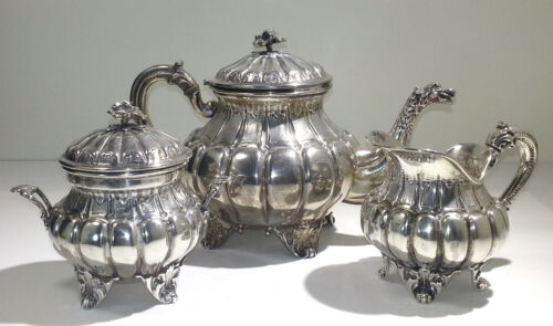 Italian 800 Standard Silver Three Piece Tea Set Service Early 20th century
