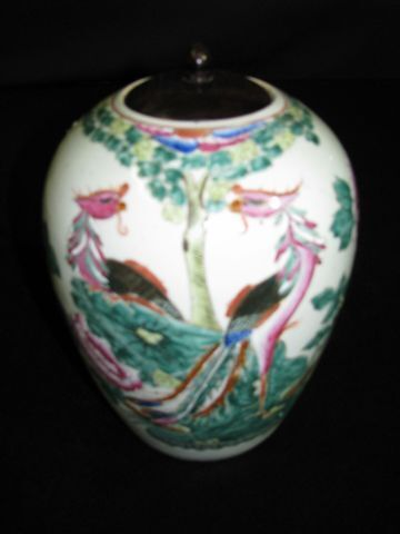 Antique Chinese Famille Verde Lidded Jar with Peacocks