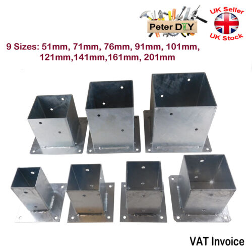 Heavy Duty Galvanised Bolt Down SQUARE POST Fence Foot Base Support 51-201mm