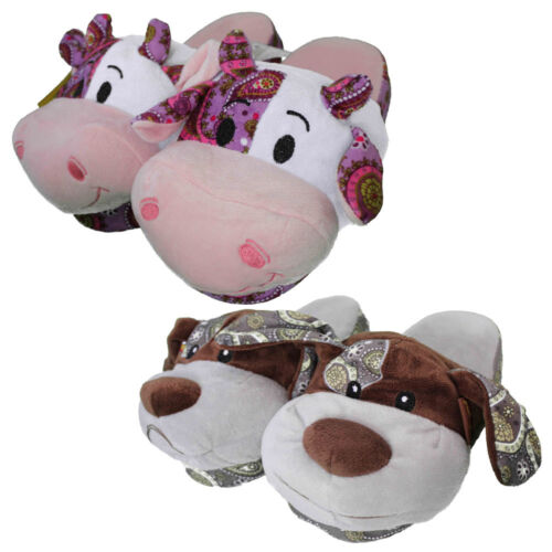 Womens Girls Cow Dog Slipper Mules Slip On Slippers Patch Warm Novelty Fun Funny