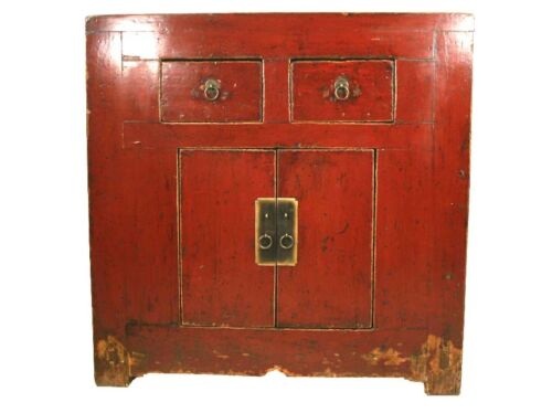 A Chinese Antique Red Lacquer Color Wood Chest 33.8 H x 33.2 W in. 2 Drawers