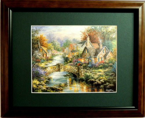 VICTORIAN VILLAGE PICTURE VICTORIAN HOUSE COTTAGE STREAM MATTED FRAMED 11X14