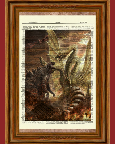 Godzilla vs King Ghidorah Vintage Dictionary Art Print Picture Gift