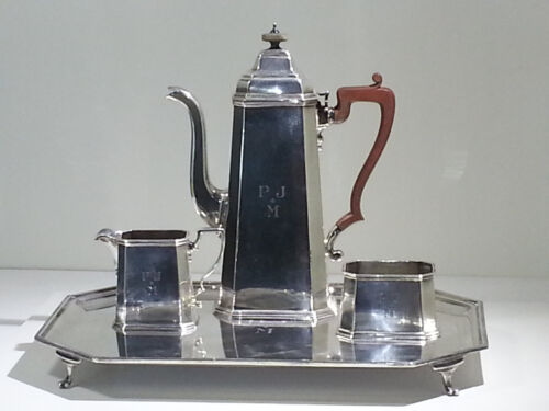 Elizabeth II Sterling Silver Tiffany & Co. 3-piece Coffee Set w/Matching Tray