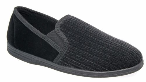 Mens Zedzzz Slip On Slippers Black Striped Comfortable  8 9 10 11 12 13 14