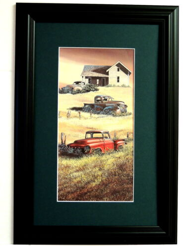 OLD TRUCKS OLD CARS PICTURE TRUCK  MOPARS FARM OLD HOUSE MATTED FRAMED 10X16