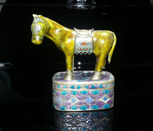 Chinese Gilt Silver & Enamel Figure of Horse with Box late 1930s