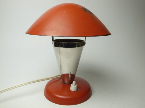 30s BAUHAUS DESK LAMP NAPAKO N12 RED CHROME VINTAGE ORGINAL CZECHOSLOVAKIA