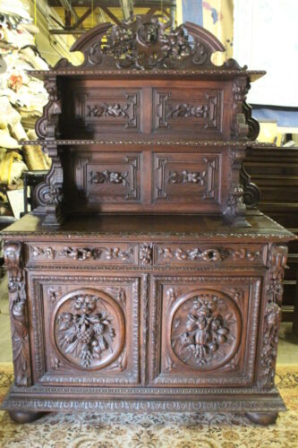 Heavily Carved Black Forest French 19th Century Sideboard / Buffet 82""