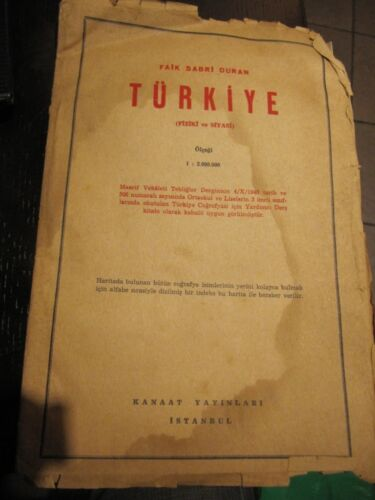 SCARCE FOLDING PHYSICAL MAP OF TURKEY 1948 FAIK SABRI DURAN