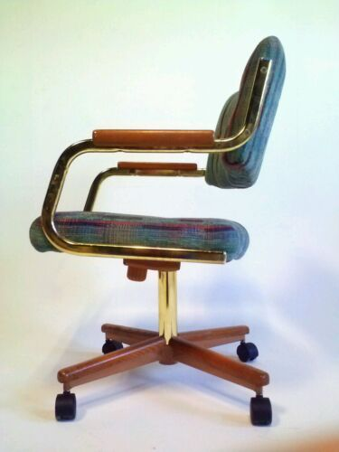 Vintage MidCentury Danish Clam Faux Leather Chromcraft Chair Office Cantilever
