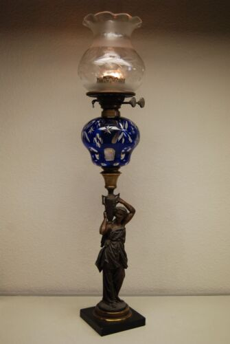 ANTIQUE BOSTON SANDWICH COBALT GLASS KEROSENE OIL BANQUET GWTW VICTORIAN LAMP