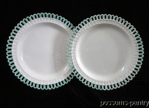 RARE EARLY DAVENPORT STAFFORDSHIRE PAIR PEARLWARE RETICULATED PLATES GREEN