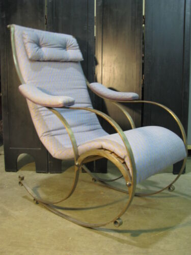 Rare 1860's-1880's Curved Steel English Campaign Style Rocking Chair Winfield
