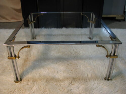 1980's Hollywood Regency Chrome, Glass & Brass Square Coffee Table