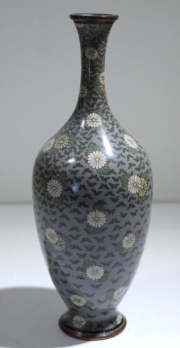 Chinese Cloisonne Copper Wire Painted Enamel Vase Floral & Butterfly Motif