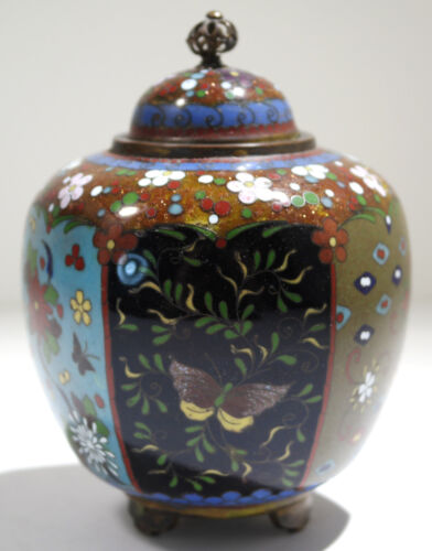 Japanese Cloisonne Enamel on Copper & Brass Lidded Tea Caddy Circa 1930
