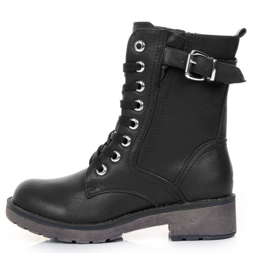 NEW WOMENS COMBAT ARMY MILITARY BIKER FLAT LACE UP WORKER ANKLE BOOTS SIZE BLACK