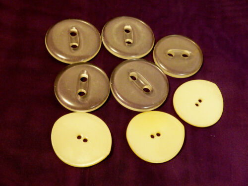 """Vintage Deco and Retro lot of 8 large 1 7/8"""" clear plastic & white buttons"""