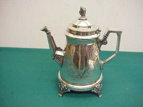 Antique Triple Silver plate Egyption Pharoah finial and feet Tea pot coffee