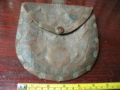 LEATHER & SUEDE  BELT  SIDE  POUCH  COPPER  TOOLED   MILITARY?