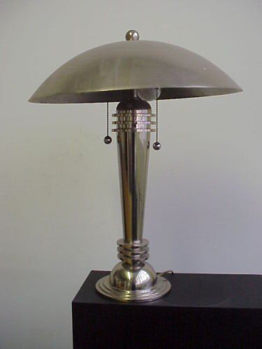 VINTAGE LAMP - ART DECO TABLE MUSHROOM LAMP - CHROME MADE IN USA