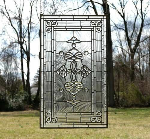 """20.5"""" x 34.25"""" Stunning Handcrafted stained glass Clear Beveled window panel"""