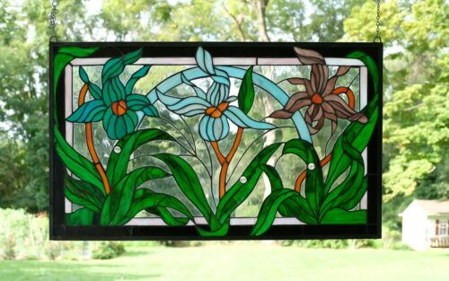 "34.5""L x 20.5""H Handcrafted jeweled stained glass window panel Iris Flowers"