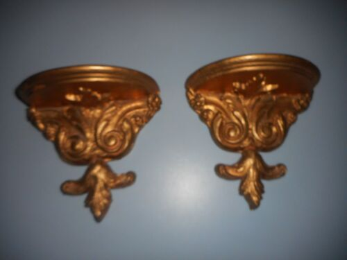 Pair of Antique Wood Wall Shelf Crazed Paint Gold Toned Applied Carving