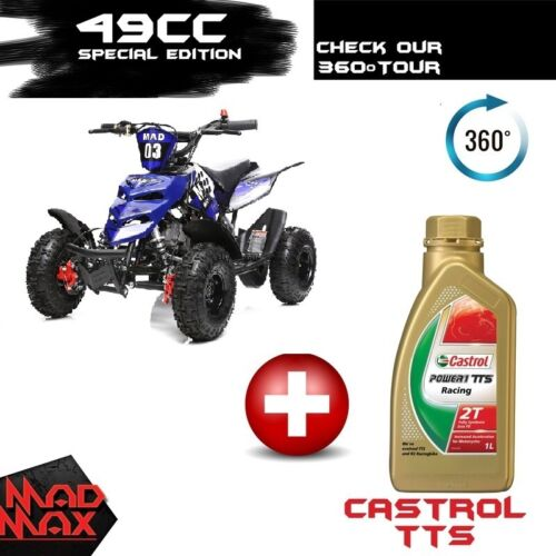 Ocean Blue 49cc Mini Atv Quad Bike Kids 4 Wheeler Dirt Buggy Pocket Bike