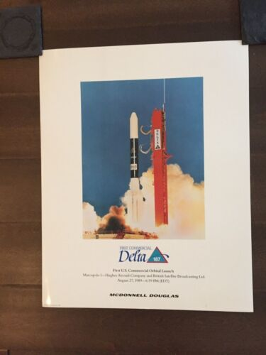 Glossy IN COLOR First Commercial Delta 187 Orbital Launch Poster- 1990Reproductions - 156452
