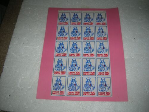 """UNCLE SAM """"I WANT YOU FOR U.S. ARMY"""" RECRUITING STICKER SHEET 1976 VINTAGE NOS Original Period Items - 13983"""