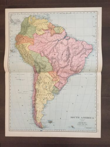 """Large 21"""" X 14 1/2"""" COLOR Rand McNally Map of South America  (1905)"""