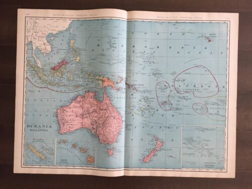 "Large 21"" X 28"" COLOR Map of Oceania & Malaysia  (1905)"