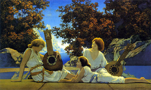 Lute Players 22x30 Hand Numbered Edition Maxfield Parrish Art Deco Print