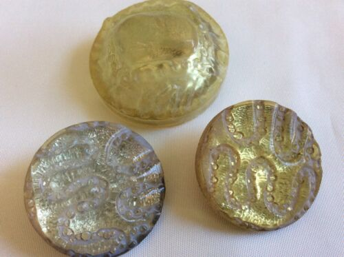 Vintage lot of 3  Art Deco Celluloid  clear pearly   buttons