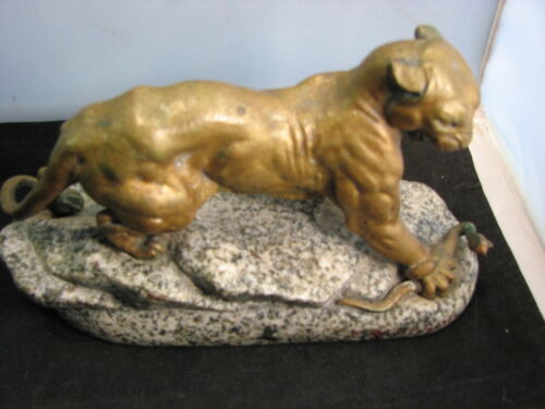 Antique French Bronze Sculpture C. MASSON PANTHER KILLS SNAKE