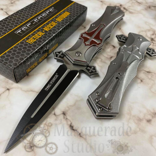 "Tac Force Collectors ""Crusader"" Red Cross Handle Spring Assisted Pocketknife"