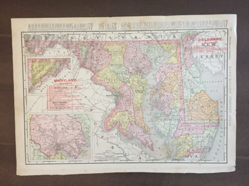"""LARGE COLOR 14"""" x 21"""""""" Rand McNally map of Maryland-1905"""