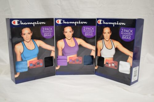 New Champion 2 Pack Reversible Sports Bra w/ Double Dry Tech Various Colors Size